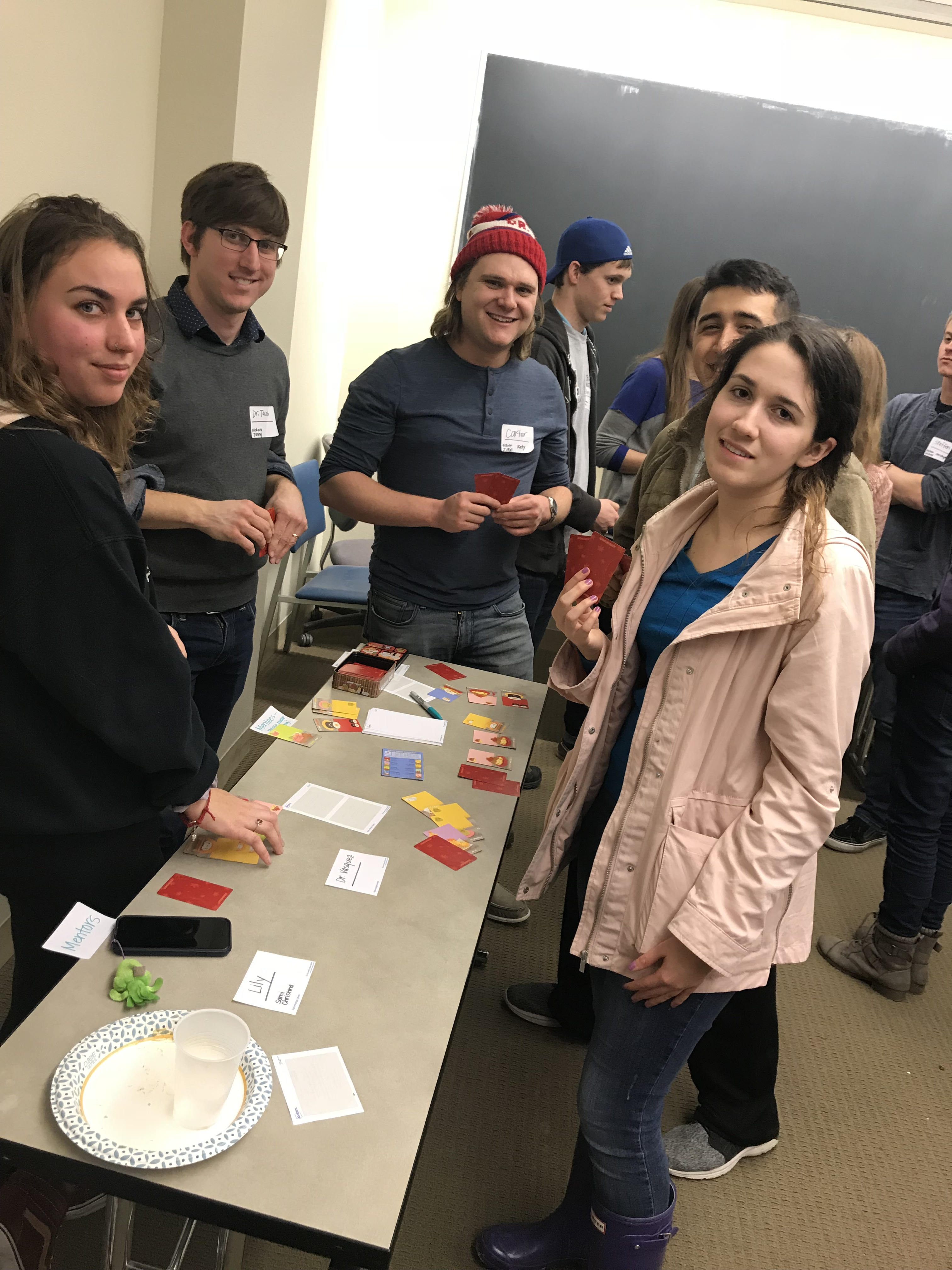 AWM members playing Sushi Go at the 2018 Winter Social.